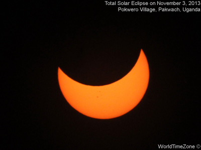 2013 Total Solar Eclipse sequence as viewed from Pokwero Village Pakwach Uganda on November 3 2013 by worldtimezone
