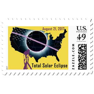 2017 Total Solar Eclipse with USA map stamps