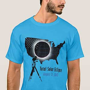 2017 Total Solar Eclipse with transparent USA map T-Shirt